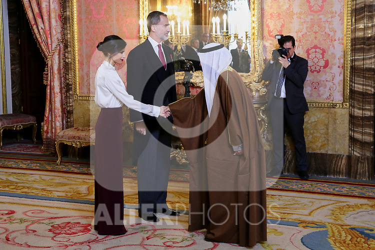 King Felipe VI of Spain and Queen Letizia of Spain attends to Spanish Royals receive Foreign Ambassadors at The Royal Palace at Royal Palace in Madrid, Spain. January 22, 2019. (ALTERPHOTOS/POOL)