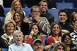 Fans react as USA's John McEnroe joking around when pulling his shorts down during HSBC Tennis Cup series at First Niagara Center in Buffalo, NY on October 22, 2011