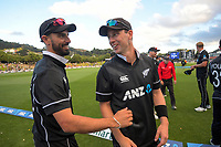 NZ's Daryl Mitchell and Matt Henry after the third One Day International cricket match between the New Zealand Black Caps and Bangladesh at the Basin reserve in Wellington, New Zealand on Friday, 26 March 2021. Photo: Dave Lintott / lintottphoto.co.nz