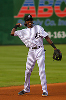 Jackson Generals shortstop Jose Vinicio (20) throws the ball around the infield between innings during a Southern League game against the Biloxi Shuckers on July 26, 2018 at The Ballpark at Jackson in Jackson, Tennessee. Jackson defeated Biloxi 9-5. (Brad Krause/Four Seam Images)