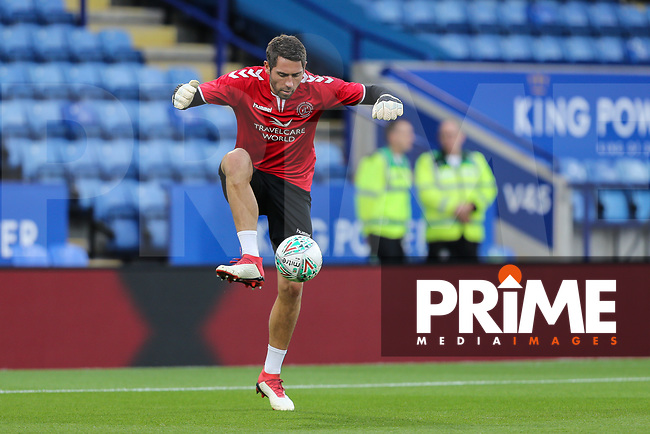 Paul Jones of Fleetwood Town warms up ahead of the English League Cup Round 2 Group North match between Leicester City and Fleetwood Town at the King Power Stadium, Leicester, England on 28 August 2018. Photo by David Horn.