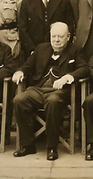 BNPS.co.uk (01202 558833)<br /> Pic: ChiswickAuctions/BNPS<br /> <br /> Pictured:  Winston Churchill was sat front and centre and chose not to look at the camera<br /> <br /> A never-before-seen photograph showing Prime Minister Winston Churchill hosting the very first conference of the heads of the Commonwealth at a critical time in the war has come to light.<br /> <br /> The 23ins by 27ins black and white photo was shot in the back garden 10 Downing Street on April 27, 1944, just five weeks before the Allied invasion of Nazi-occupied France.<br /> <br /> The prime ministers of Canada, Australia, New Zealand and South Africa were among the VIPS who attended the historic event.<br /> <br /> The unique photo is coming up for sale at Chiswick Auctions.
