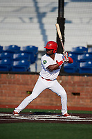 Johnson City Cardinals left fielder Luis Flores (16) at bat during a game against the Danville Braves on July 29, 2018 at TVA Credit Union Ballpark in Johnson City, Tennessee.  Johnson City defeated Danville 8-1.  (Mike Janes/Four Seam Images)