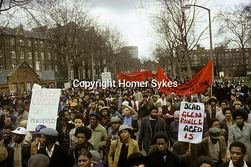 New Cross Fire Massacre March 1981 The Black People's Day of Action' march to the West End of London in protest at police inaction. Fordham Park New Cross London. 1980s UK. <br /> <br /> The New Cross Fire was a devastating house fire which killed 13 young black people during a birthday party in New Cross, southeast London on Sunday 18 January 1981. Some were shocked by what they perceived as the indifference of the white population, and accused the London Metropolitan Police of covering up the cause, which they suspected was an arson attack motivated by racism; the protests arising out of the fire led to a mobilisation of black political activity. Nobody has ever been charged in relation to the fire