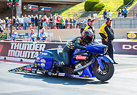 Jul 19, 2019; Morrison, CO, USA; NHRA pro stock motorcycle rider Michael Ray during qualifying for the Mile High Nationals at Bandimere Speedway. Mandatory Credit: Mark J. Rebilas-USA TODAY Sports