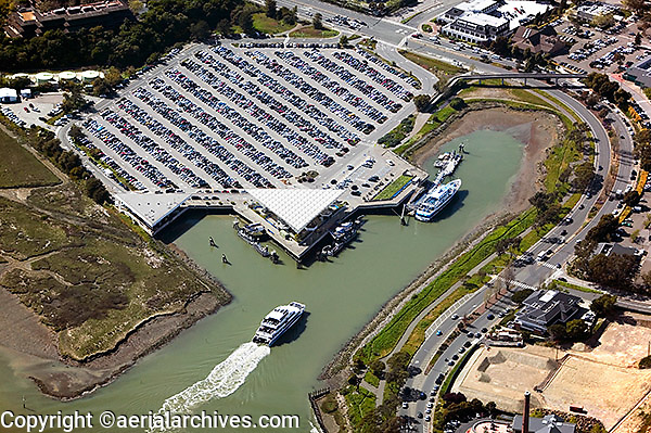 aerial above Larkspur Ferry commuter ferry in City of Larspur, Marin County, California San Francisco bay