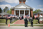 April 15, 2008. Wallace, NC..Funeral services were held for National Guard Staff Sgt. Emanuel Pickett at the 1st Baptist Church in Wallace, NC., where he was a police officer.. SSgt. Pickett was killed on April 6, 2008 in Baghdad, Iraq by indirect enemy fire. He was assigned to the 1132nd Military Police Company, North Carolina Army National Guard, Rocky Mount, N.C. and is the 8th North Carolina National Guard soldier killed in the wars in Iraq and Afghanistan..  Members of the Patriot Guard, a motorcycle group that escorts the remains of soldiers and protects the families from protesters, line the walk way to the church as mourners arrive.