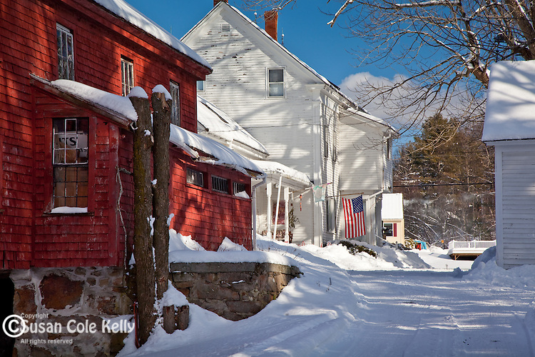 A snow-covered farm in Eliot, ME, USA