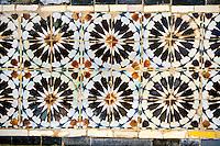 Ceramics, Tunis Medina, Tunisia.  Medieval Tiles, Cuerda Seca Technique, Zawiya of Sidi Kacen El-Jalizi.