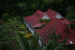 The Lamontagnes' (owners) plantation home amid the gardens on Fond Doux Estate