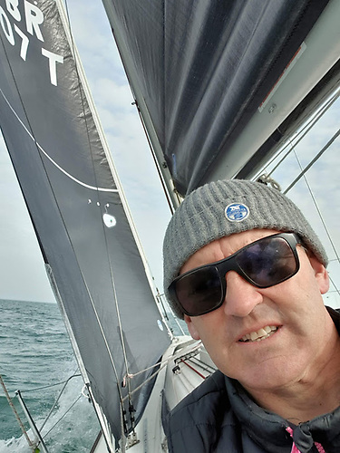 Maurice 'Prof' O'Connell setting up the 3Di's onboard Mustang 30 'Peridot'