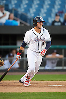 Syracuse Chiefs first baseman Matt Skole (16) at bat during a game against the Louisville Bats on June 6, 2016 at NBT Bank Stadium in Syracuse, New York.  Syracuse defeated Louisville 3-1.  (Mike Janes/Four Seam Images)