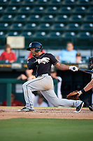 Jupiter Hammerheads second baseman Justin Twine (1) at bat during the second game of a doubleheader against the Bradenton Marauders on May 27, 2018 at LECOM Park in Bradenton, Florida.  Jupiter defeated Bradenton 4-1.  (Mike Janes/Four Seam Images)