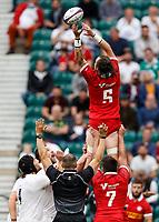 10th July 2021; Twickenham, London, England; International Rugby Union England versus Canada; Conor Keys of Canada leaping high to retrieve the ball