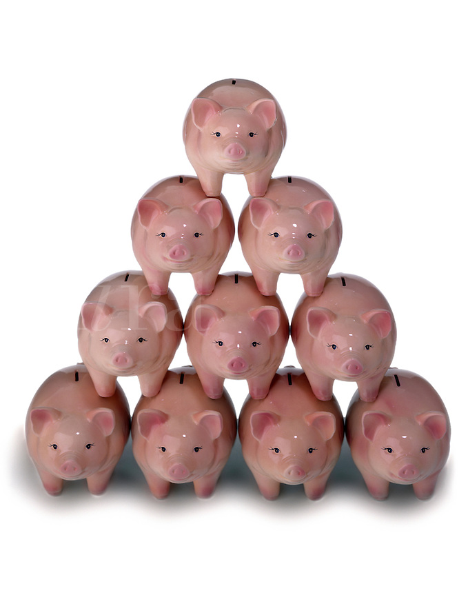 Pyramid of piggy banks.