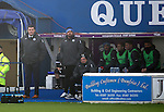 Queen of the South v St Johnstone...07.02.15    Scottish Cup 5th Round<br /> Tommy Wright and Callum Davidson on a glum looking saints bench<br /> Picture by Graeme Hart.<br /> Copyright Perthshire Picture Agency<br /> Tel: 01738 623350  Mobile: 07990 594431