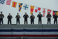 130504-N-DR144-021 ANCHORAGE, Alaska (May 4, 2013)- Sailors and Marines man the rails as the ship is brought to life during the commissioning of San Antonio-class amphibious transport dock ship USS Anchorage (LPD 23) at the Port of Anchorage. More than 4,000 people gathered to witness the ship's commissioning in its namesake city of Anchorage, Alaska. Anchorage, the seventh San Antonio-class LPD, is the second ship to be named for the city and the first U.S. Navy ship to be commissioned in Alaska. (U.S. Navy photo by Mass Communication Specialist 1st Class James R. Evans / RELEASED)