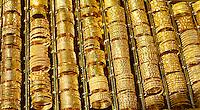 Gold bracelets in the souk market in Dubai