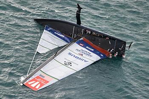 Capsize for American Magic on day 3 of the PRADA Cup Photo: COR36 / Studio Borlenghi