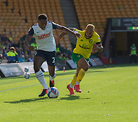 Preston North End's Darnell Fisher (left) battles for possession with Norwich City's Onel Hernandez (right) <br /> <br /> Photographer David Horton/CameraSport<br /> <br /> The EFL Sky Bet Championship - Norwich City v Preston North End - Saturday 19th September 2020 - Carrow Road - Norwich<br /> <br /> World Copyright © 2020 CameraSport. All rights reserved. 43 Linden Ave. Countesthorpe. Leicester. England. LE8 5PG - Tel: +44 (0) 116 277 4147 - admin@camerasport.com - www.camerasport.com