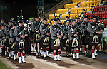 St Johnstone v Partick Thistle…02.03.16  SPFL McDiarmid Park, Perth<br />The Pipes and Drums from Glenalmond College entertain the crowd<br />Picture by Graeme Hart.<br />Copyright Perthshire Picture Agency<br />Tel: 01738 623350  Mobile: 07990 594431