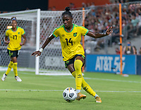 HOUSTON, TX - JUNE 13: Deneisha Blackwood #14 of the USWNT dribbles during a game between Jamaica and USWNT at BBVA Stadium on June 13, 2021 in Houston, Texas.