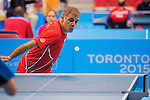 Toronto, ON - Aug 8 2015 - Masoud Mojtahed competes in Group B MS7 table tennis in the ATOS Markham Centre during the Toronto 2015 Parapan American Games  (Photo: Matthew Murnaghan/Canadian Paralympic Committee)