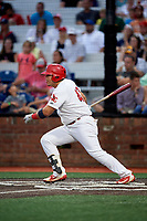 Johnson City Cardinals designated hitter Carlos Soto (47) grounds out during a game against the Danville Braves on July 28, 2018 at TVA Credit Union Ballpark in Johnson City, Tennessee.  Danville defeated Johnson City 7-4.  (Mike Janes/Four Seam Images)