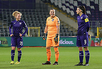 Charlotte Tison (20 Anderlecht), goalkeeper Justien Odeurs (13 Anderlecht) and Laura De Neve (8 Anderlecht) pictured during the line up before a female soccer game between RSC Anderlecht Dames and Northern Irish Linfield Ladies  in the first qualifying round for the Uefa Womens Champions League of the 2020 - 2021 season , Wednesday 4 th of November 2020  in ANDERLECHT , Belgium . PHOTO SPORTPIX.BE | SPP | SEVIL OKTEM
