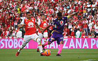 BOGOTA, COLOMBIA - January- 29-2017: Yeison Gordillo (L) player of Independiente Santa Fe   fights for the ball with Christian Marrugo (R) player of Independiente Medellin during a match between Independiente Santa Fe and Independiente Medellin as part of National Super League Aguila 2017 match played  at Nemesio  Camacho El Campin Stadium on January 29, 2016 in Bogota, Colombia.   Photo by Felipe Caicedo/ VizzorImage / Staff