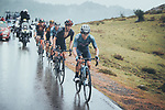 Miguel Angel Lopez Moreno (COL) leads team mate Enric Mas (ESP) Movistar Team, Adam Yates (GBR) Ineos Grenadiers and Sepp Kuss (USA) in the chase group on the final climb during Stage 17 of La Vuelta d'Espana 2021, running 185.8km from Unquera to Lagos de Covadonga, Spain. 1st September 2021.    <br /> Picture: Cxcling   Cyclefile<br /> <br /> All photos usage must carry mandatory copyright credit (© Cyclefile   Cxcling)