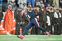 FOXBOROUGH, MA - OCTOBER 27: New England Patriots Wide Receiver Julian Edelman #11 drops a catch during a game between Cleveland Browns and New Enlgand Patriots at Gillettes on October 27, 2019 in Foxborough, Massachusetts.