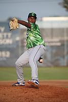 Andry Rondon (49) of the Eugene Emeralds pitches against the Salem-Keizer Volcanoes at Volcanoes Stadium on July 24, 2017 in Keizer, Oregon. Eugene defeated Salem-Keizer, 7-6. (Larry Goren/Four Seam Images)