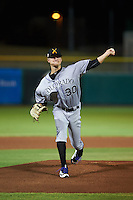 Salt River Rafters pitcher Kyle Freeland (30) delivers a pitch during an Arizona Fall League game against the Scottsdale Scorpions on October 14, 2015 at Scottsdale Stadium in Scottsdale, Arizona.  Scottsdale defeated Salt River 13-3.  (Mike Janes/Four Seam Images)
