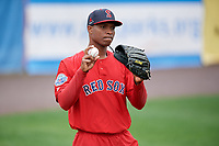 Salem Red Sox pitcher Yankory Pimentel (38) during practice before the first game of a doubleheader against the Potomac Nationals on May 13, 2017 at G. Richard Pfitzner Stadium in Woodbridge, Virginia.  Potomac defeated Salem 6-0.  (Mike Janes/Four Seam Images)