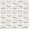 Boundary, a stone waterjet mosaic, show in polished Calacatta Gold and 24K gold. Design by Paul Schatz for New Ravenna.