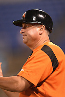 Bowie Baysox manager Gary Kendall (35) during a game against the Binghamton Mets on August 3, 2014 at NYSEG Stadium in Binghamton, New York.  Bowie defeated Binghamton 8-2.  (Mike Janes/Four Seam Images)