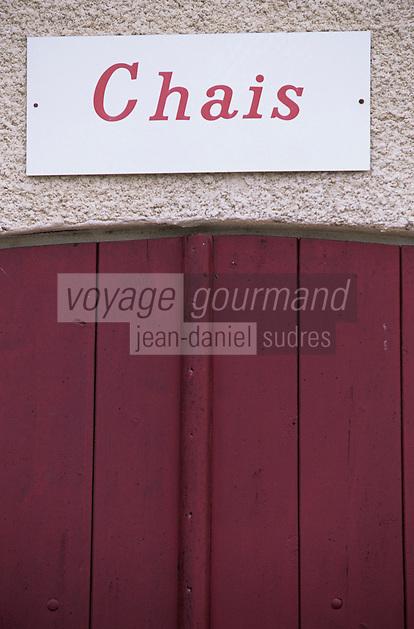 Europe/France/Aquitaine/33/Gironde/Saint-Seurin-de-Cadourne: Château Lestage Simon (AOC Haut-Médoc) - Détail du portail des chais