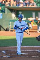 Jon Littell (48) of the Ogden Raptors bats against the Grand Junction Rockies at Lindquist Field on June 15, 2019 in Ogden, Utah. The Raptors defeated the Rockies 12-11. (Stephen Smith/Four Seam Images)
