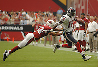 Aug 18, 2007; Glendale, AZ, USA; Houston Texans wide receiver Jacoby Jones (12) is pushed out of bounds by a diving Arizona Cardinals safety Terrence Holt (42) in the first quarter at University of Phoenix Stadium. Mandatory Credit: Mark J. Rebilas-US PRESSWIRE Copyright © 2007 Mark J. Rebilas