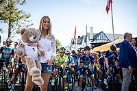Femke Herygers at the race start posing with the BINGOALCUP mascotte. <br /> <br /> 94th Schaal Sels 2019<br /> One Day Race: Merksem  >  Merksem  (UCI 1.1)<br /> ©kramon