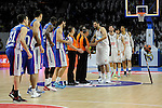 Real Madrid´s players greet Anadolu Efes´s players during 2014-15 Euroleague Basketball Playoffs second match between Real Madrid and Anadolu Efes at Palacio de los Deportes stadium in Madrid, Spain. April 17, 2015. (ALTERPHOTOS/Luis Fernandez)