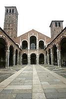 Il quadripartito all'entrata della Basilica di Sant'Ambrogio, a Milano.<br /> The entrance portico to the Basilica of Sant'Ambrogio in Milan.<br /> UPDATE IMAGES PRESS/Riccardo De Luca
