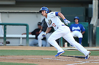 Corey Seager #12 of the Rancho Cucamonga Quakes bats against the Bakersfield Blaze at LoanMart Field on June 9, 2014 in Rancho Cucamonga, California. Bakersfield defeated Rancho Cucamonga, 3-1. (Larry Goren/Four Seam Images)