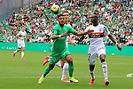 AS SAINT-ETIENNE vs FC LORIENT Football Match Ligue 1 Uber Eats. Saint-Etienne, France on August 8, 2021. In action left Denis Bouanga and right Houboulang Mendes