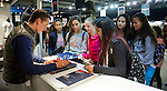 Irish rider Bertram Allen signs autographs during the Longines Masters of Hong Kong on 20 February 2016 at the Asia World Expo in Hong Kong, China. Photo by Juan Manuel Serrano / Power Sport Images