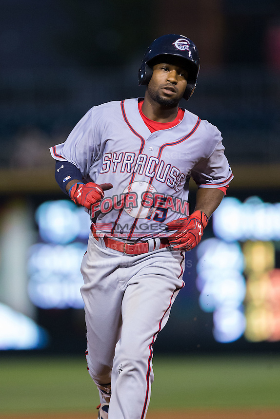 Brian Goodwin (15) of the Syracuse Chiefs rounds the bases after hitting a home run against the Charlotte Knights at BB&T BallPark on June 1, 2016 in Charlotte, North Carolina.  The Knights defeated the Chiefs 5-3.  (Brian Westerholt/Four Seam Images)