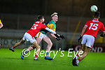 Conor Horan, Kerry in action against Hugh O'Connor, Cork during the Munster Minor Semi-Final between Kerry and Cork in Austin Stack Park on Tuesday evening.