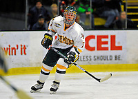 16 November 2008: University of Vermont Catamount forward Justin Milo, a Sophomore from Edina, MN, in action against the visiting Merrimack College Warriors at Gutterson Fieldhouse, in Burlington, Vermont. The Catamounts defeated the Warriors 2-1 in front of a near-capacity crowd of 3,813...Mandatory Photo Credit: Ed Wolfstein Photo
