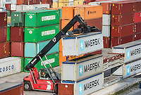 Shipping containers being stacked in cargo dock, Rijeka, Croatia